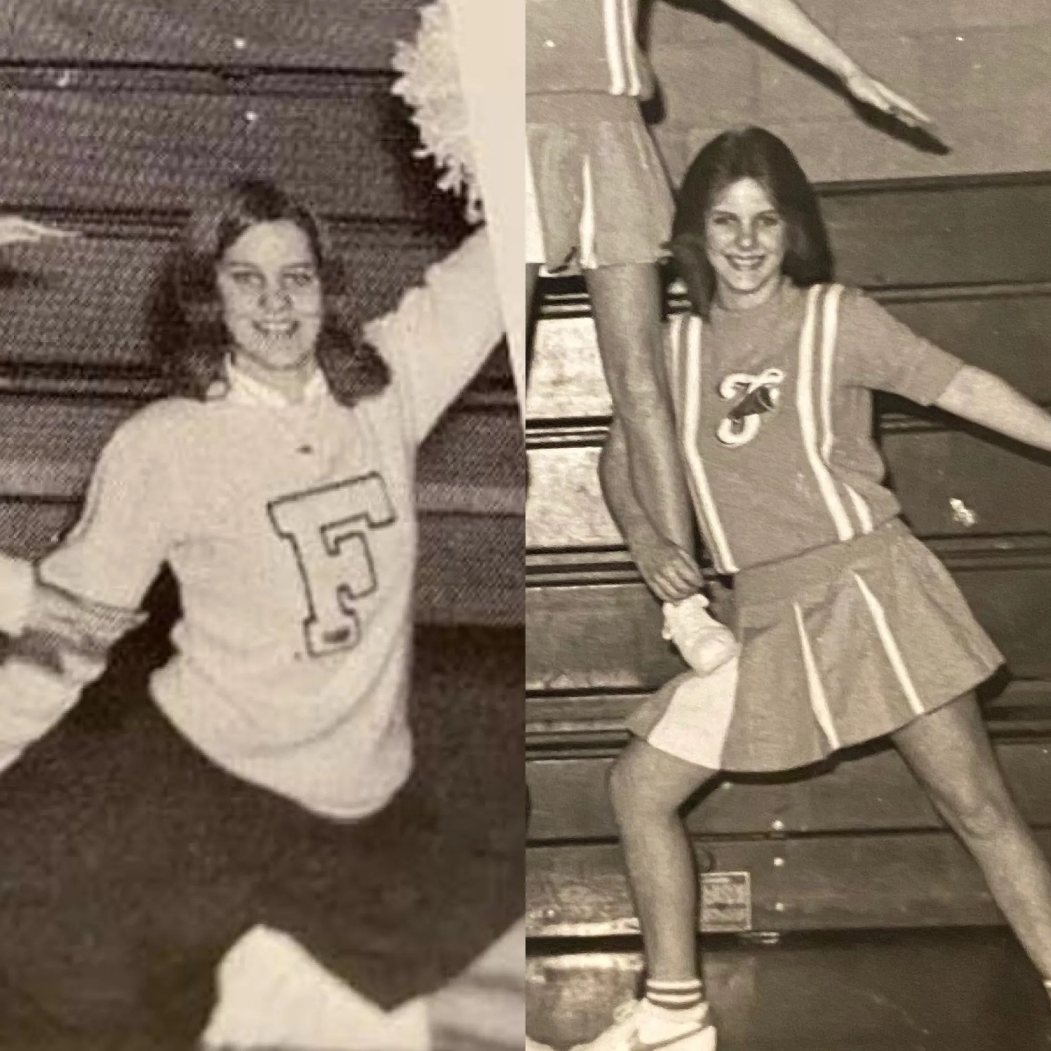 Donna Cougill (left) and her daughter Laura Mabry around the same age.  Donna was a cheerleader at Franklin Central and Laura was a maid for the same school's wrestling team.