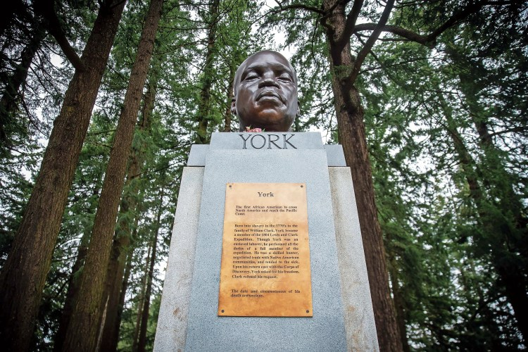 A bust of York mysteriously appeared atop a pedestal this month at Mount Tabor Park in Portland, Oregon. The anonymous artist affixed a plaque describing how York was an integral part of the 1804-1806 Lewis and Clark expedition.