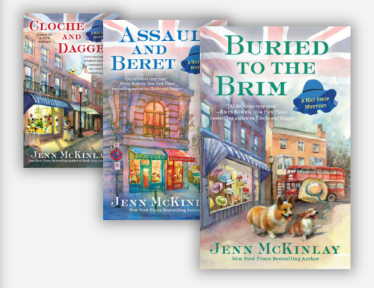 Jenn McKinlay's fifth cozy mystery series, is about cousins Scarlett Parker and Vivian Tremont, co-owners of Mim's Whims, a fashionable London hat shop, with a knack for solving murders.
