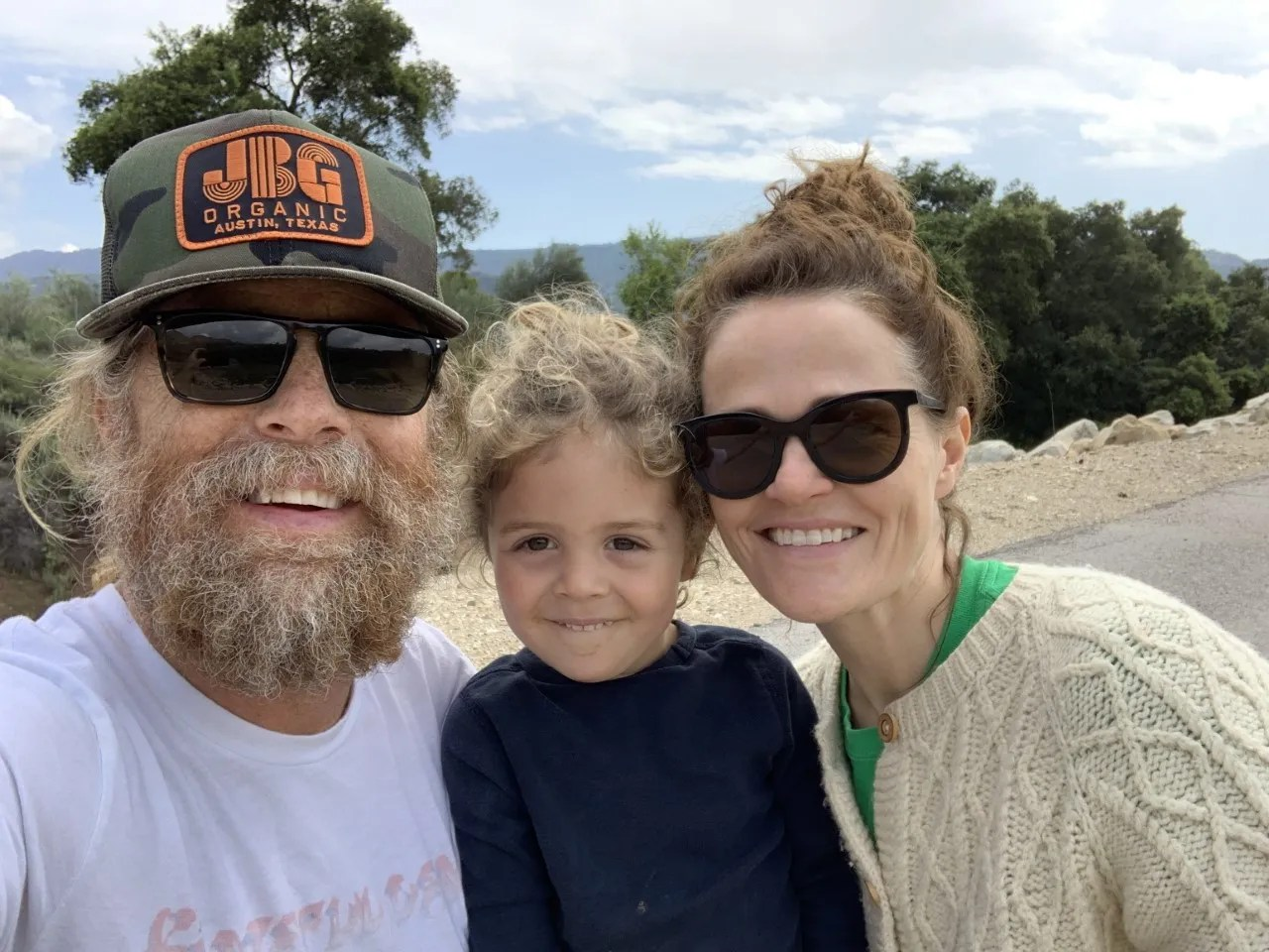 Gerry Gilhool, left, with son Quinn and partner Ali Johnes in Ojai in March 2020.