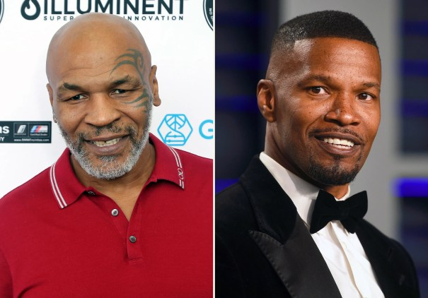 In this combination photo, Mike Tyson, left, attends a celebrity golf tournament on Aug. 2, 2019, in Dana Point, Calif. and Jamie Foxx arrives at the Vanity Fair Oscar Party on Feb. 24, 2019, in Beverly Hills, Calif. Tyson says he's producing a limited series about his life and career. Foxx will play the boxing great in the project that also counts Foxx and filmmaker Martin Scorsese as producers.