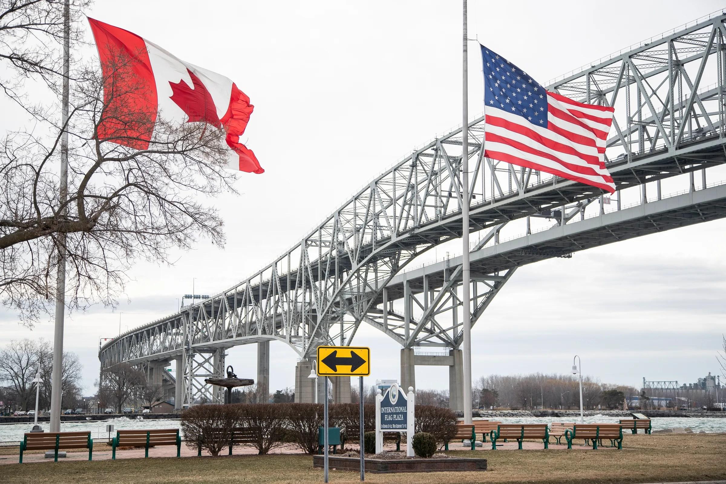 International Flag Plaza near the Blue Water Bridge in Port Huron, Thursday, March 18, 2021.