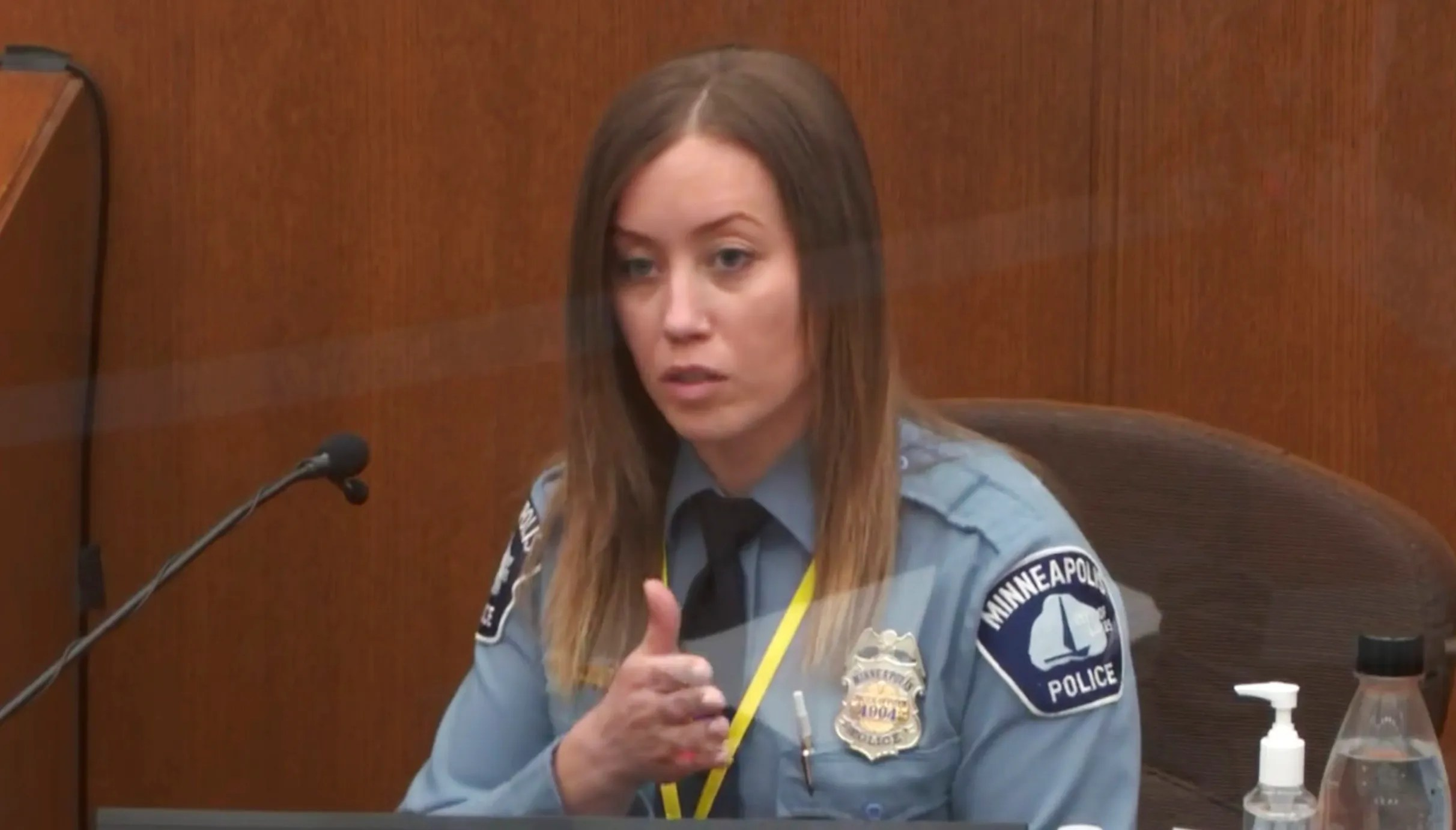 In this image from video Minneapolis Police Officer Nicole Mackenzie testifies as Hennepin County Judge PeterCahill presides Tuesday, April 6, 2021, in the trial of former Minneapolis police Officer Derek Chauvin at the Hennepin County Courthouse in Minneapolis.