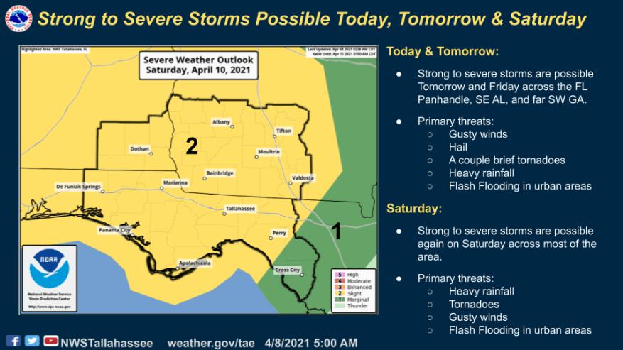 В ближайшие дни в Северной Флориде и Южной Георгии ожидаются сильные штормы, а самая тяжелая погода - на субботу.