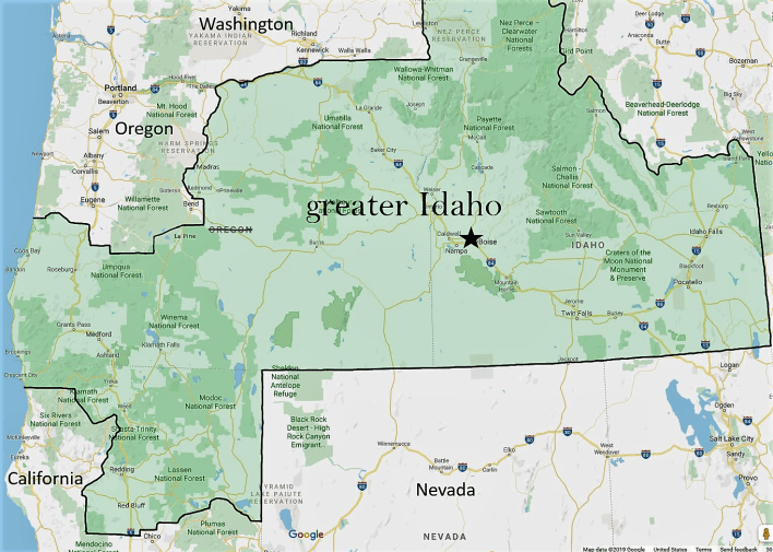 A group called Move Oregon's Border For a Greater Idaho is pitching a plan to lop off about three-fourths of Oregon and eventually add part of Northern California to form Greater Idaho. The effort would create a politically red state that backers say would be insulated from the liberal influence of large urban centers.