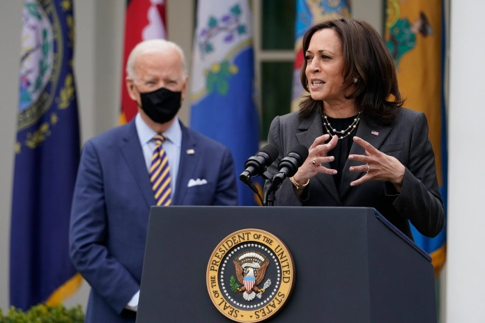 President Joe Biden and Vice President Kamala Harris on March 12, 2021, in the Rose Garden of the White House.