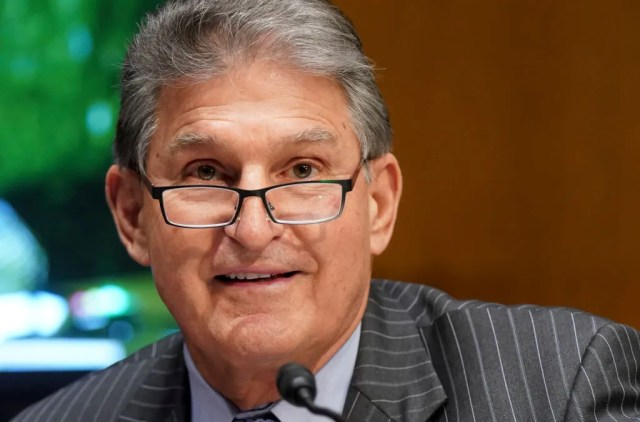 U.S. Sen. Joe Manchin questions nominee for Secretary of Veterans Affairs Denis McDonough at his confirmation hearing on Capitol Hill on Jan. 27, 2021.