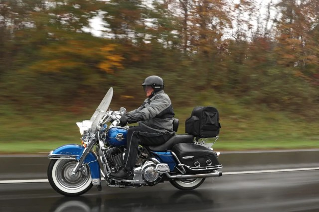 U.S. Sen. Joe Manchin (D-WV) rides his motorcycle as he campaigns ahead of midterm elections on Nov. 5, 2018, in Martinsburg, W.Va. Manchin is closing out his reelection campaign on a motorcycle tour across West Virginia.