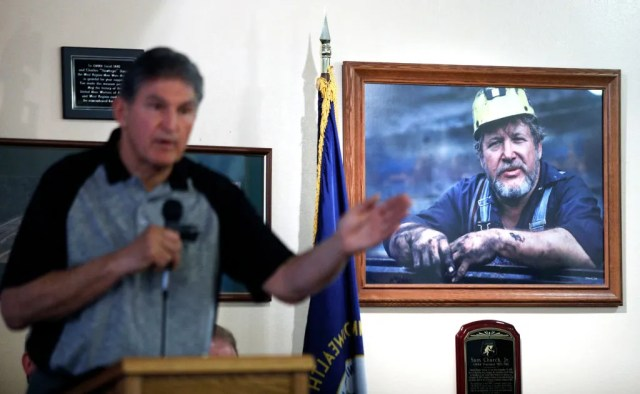U.S. Sen. Joe Manchin (D-WV) holds a town hall meeting with coal miners on March 31, 2017 in Matewan, W.Va.