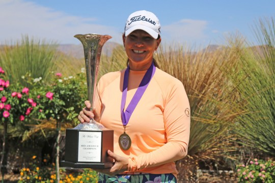 Meghan Stasi poses with the trophy after winning the inaugural LNGA mid-amateur title in Anthem on April 21, 2021.
