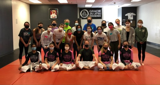 In March, members of EmpowHerX, a group for girls to learn real-life skills, attended a self-defense class at Gracie Barra Arcadia Brazilian Jiu Jitsu in Phoenix.