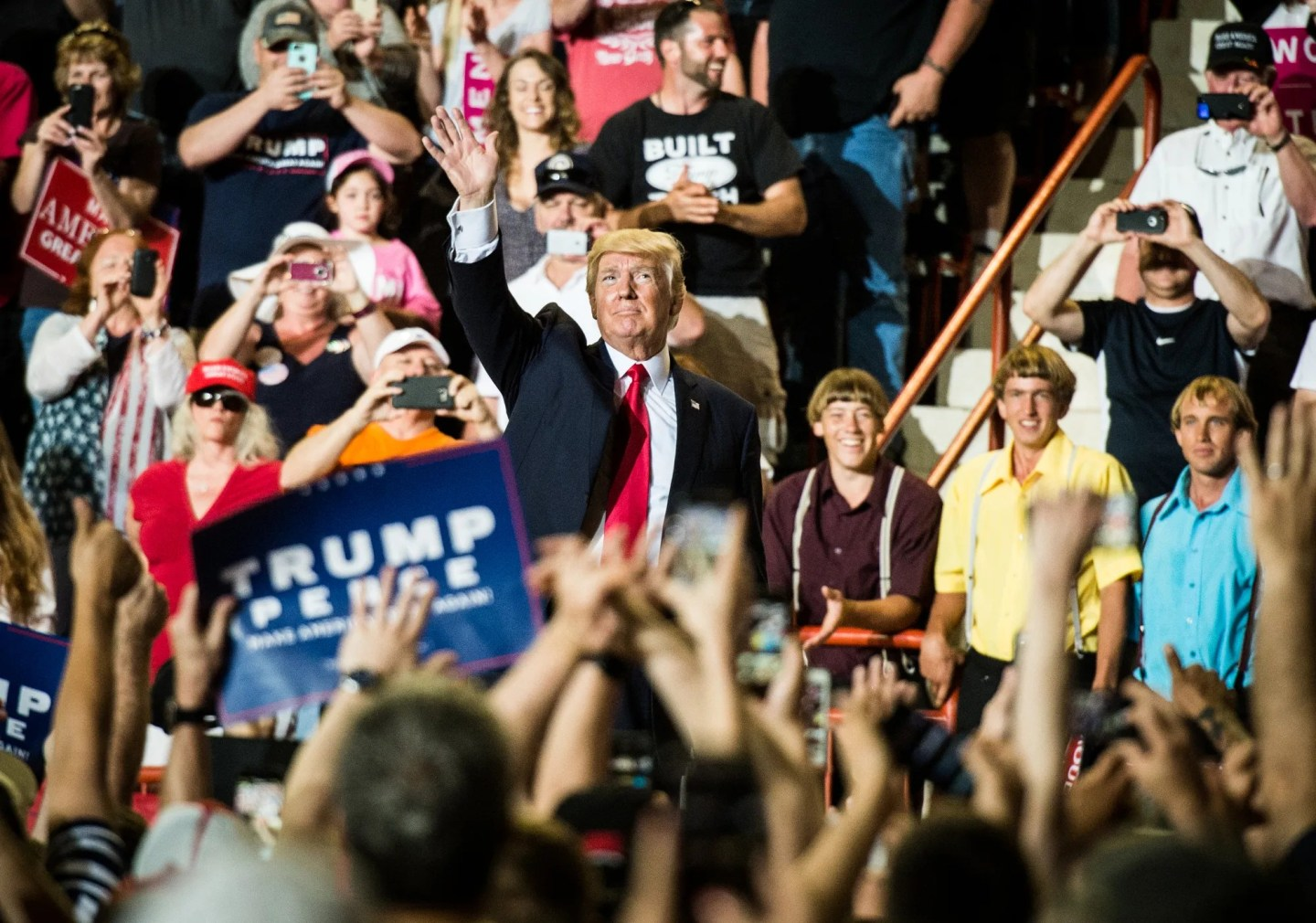President Donald Trump addresses the crowd during a rally at the Farm Show Complex in Harrisburg, Pennsylvania, on April 29, 2017, the 100th day of his presidency.