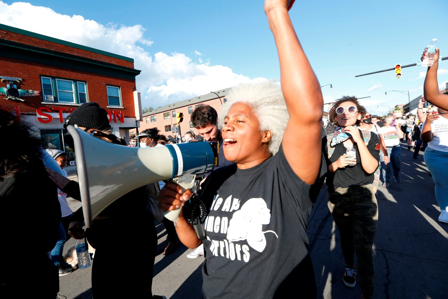 Cariol Horne marches during a protest organized by We Pump 716 and the Liberation Collective, Friday, Sept. 4, 2020, in Buffalo.
