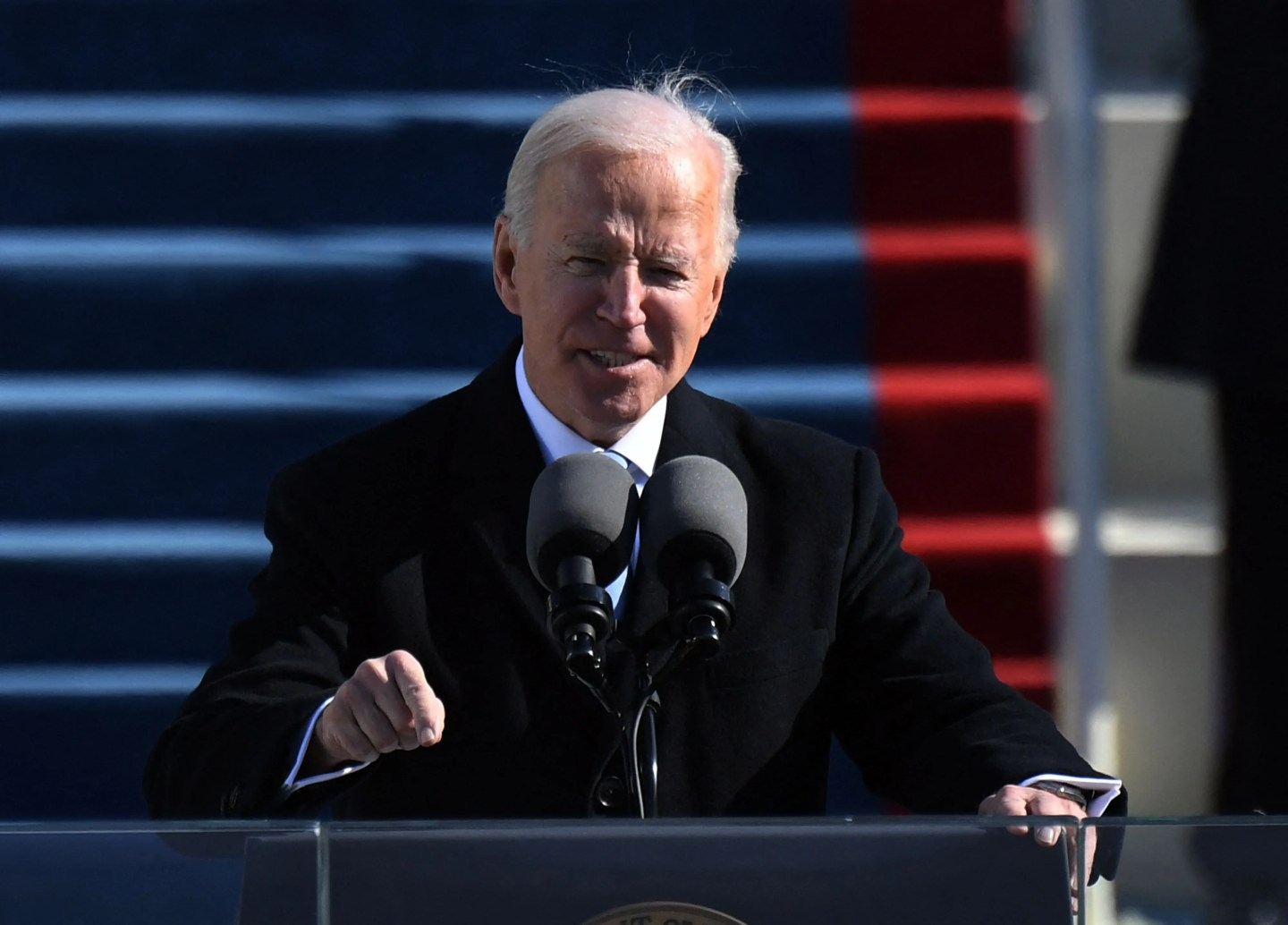 President Joe Biden delivers his inauguration speech on January 20, 2021, at the US Capitol in Washington, DC. -