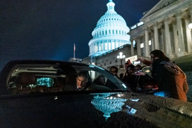 Sen. Joe Manchin departs from the U.S. Capitol Building after a session of the Senate impeachment trial of President Donald Trump at the U.S. Capitol on Jan. 31, 2020.
