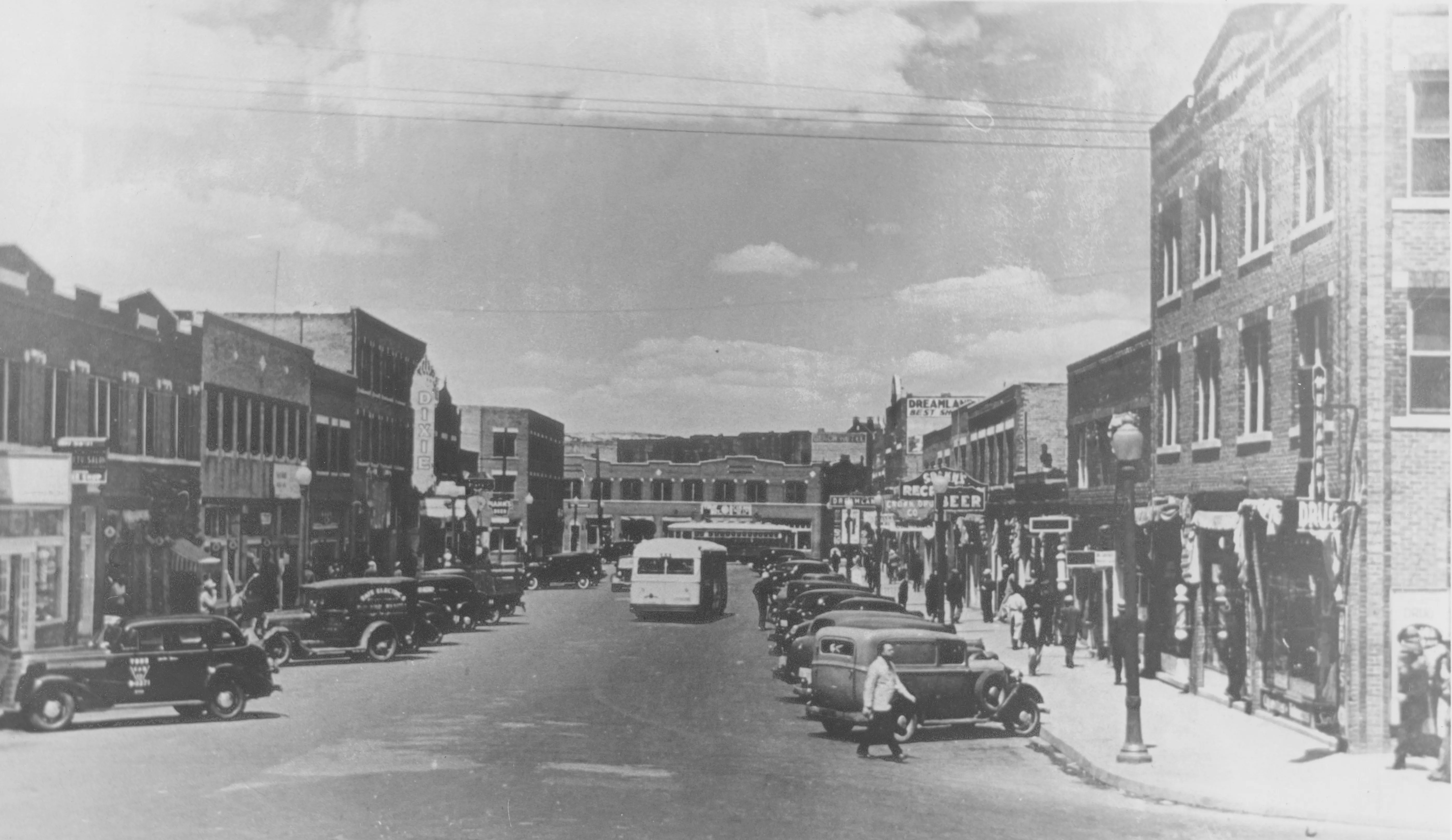 Some of the buildings still standing along Greenwood Avenue are shown in this 1938 photo. The area historically referred to as Black Wall Street was rebuilt in the five years following the 1921 massacre.