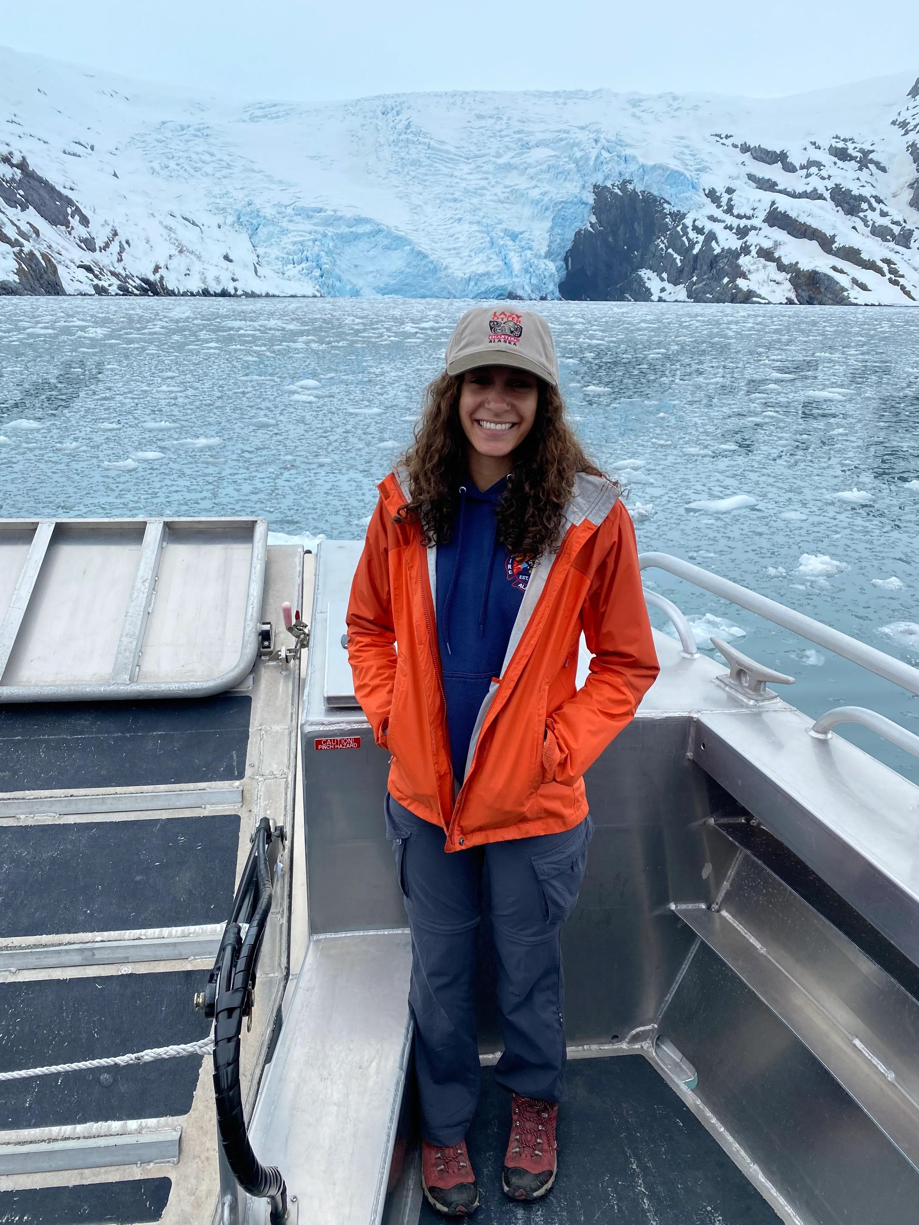 Jenessa Lorenz enjoying a boat ride in Whittier, Alaska