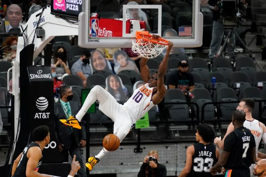 May 16, 2021; San Antonio, Texas, USA; Phoenix Suns forward Jalen Smith (10) dunks in the third quarter against the San Antonio Spurs at AT&T Center. Mandatory Credit: Scott Wachter-USA TODAY Sports