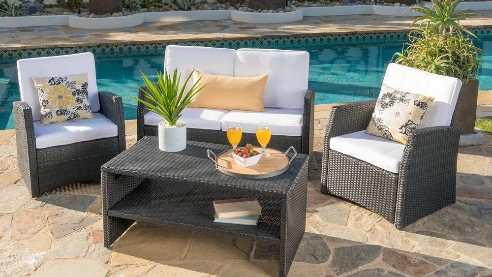 The Christopher Knight Home four-piece wicker seating set is a favorite with Overstock customers because it is both easy to assemble and comfortable.