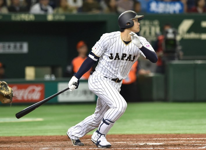 Shohei Ohtani stars for Japan in an international friendly in 2016. He played in the Japan Pacific League from 2013 to '17.