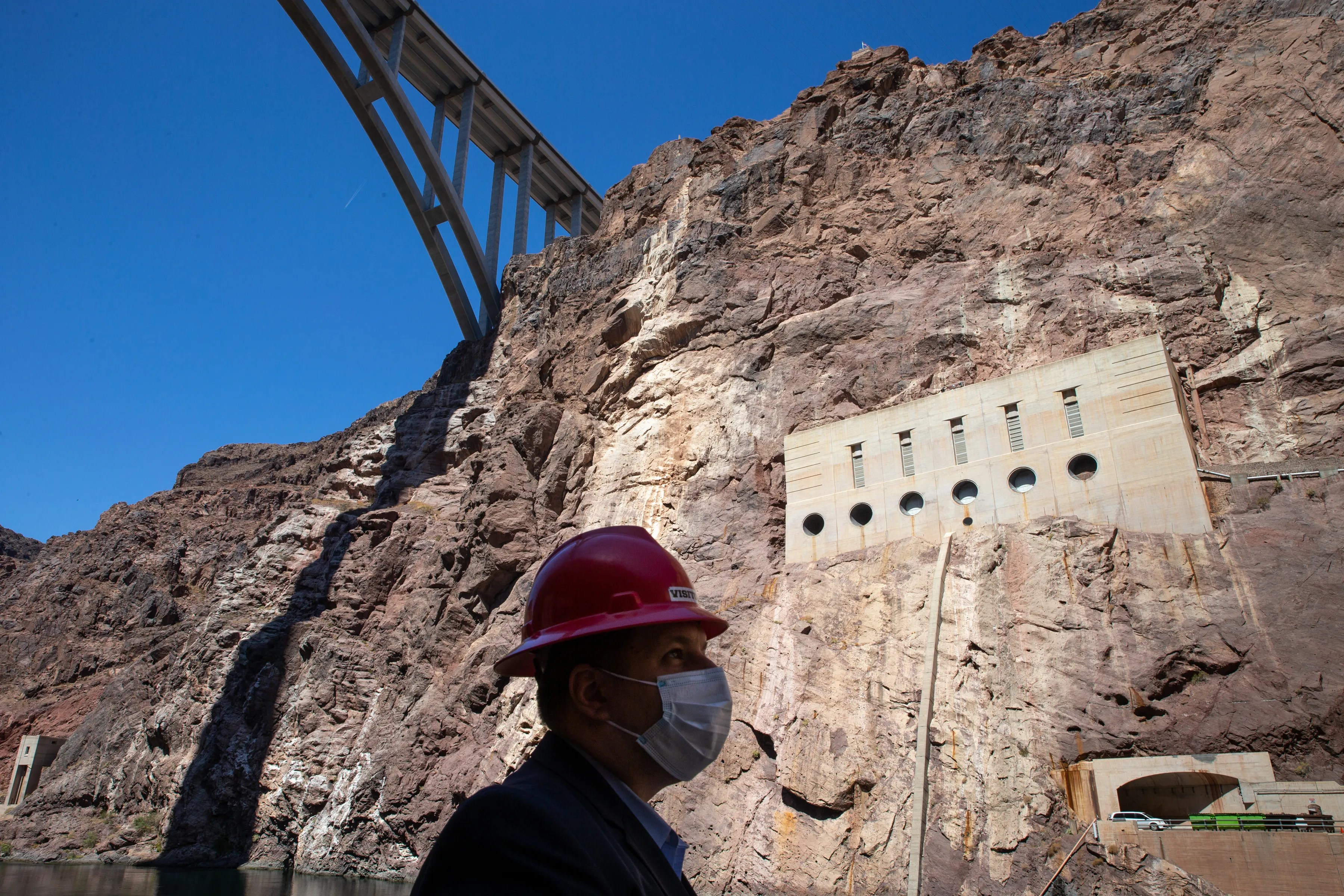 Mike Bernardo, of the federal Bureau of Reclamation, on the ramp at Hoover Dam on May 11, 2021.