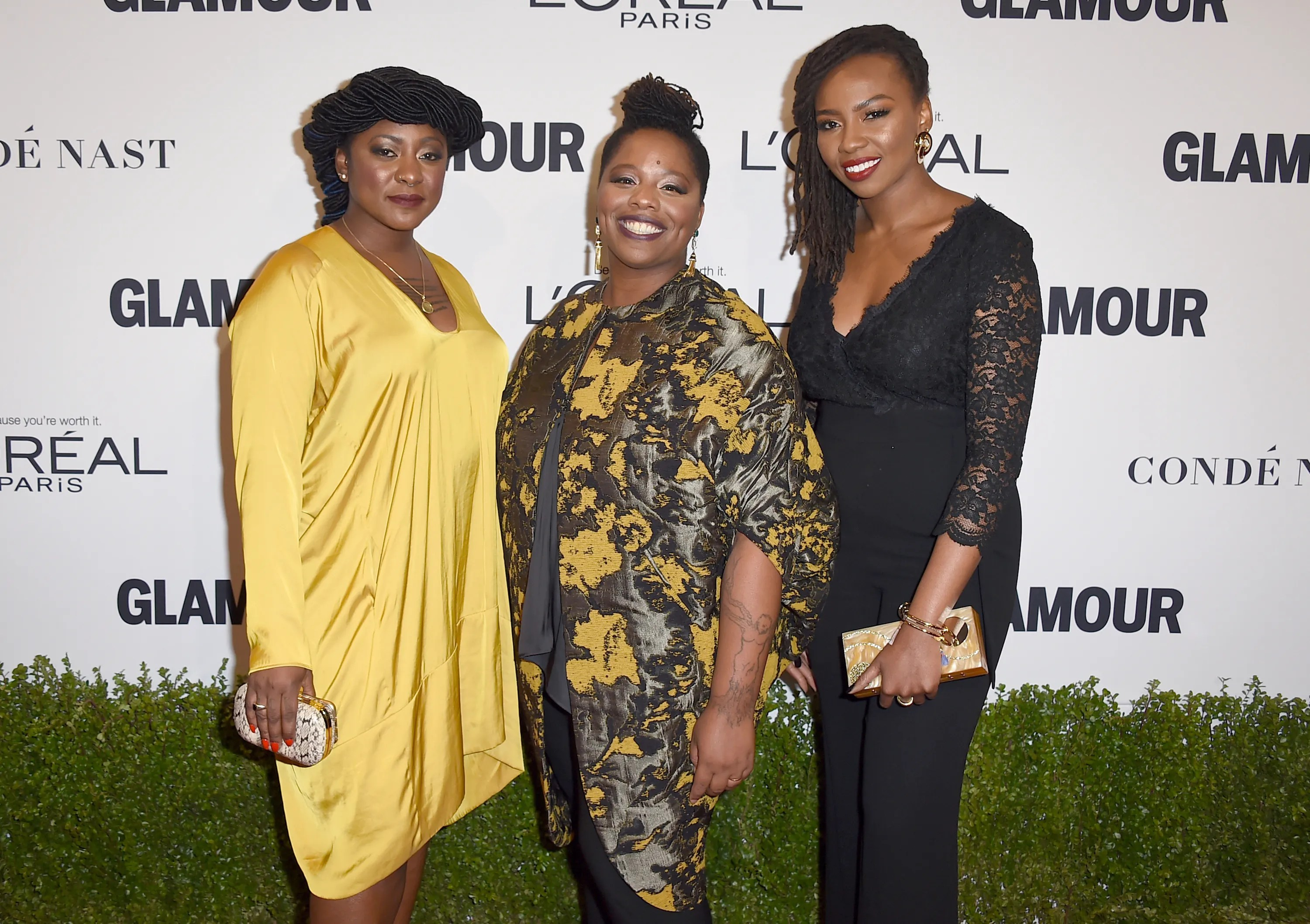 Alicia Garza, from left, Patrisse Cullors and Opal Tometi, co-founders of the Black Lives Matter movement, arrive at the Glamour Women of the Year Awards at NeueHouse Hollywood on Monday, Nov. 14, 2016, in Los Angeles.