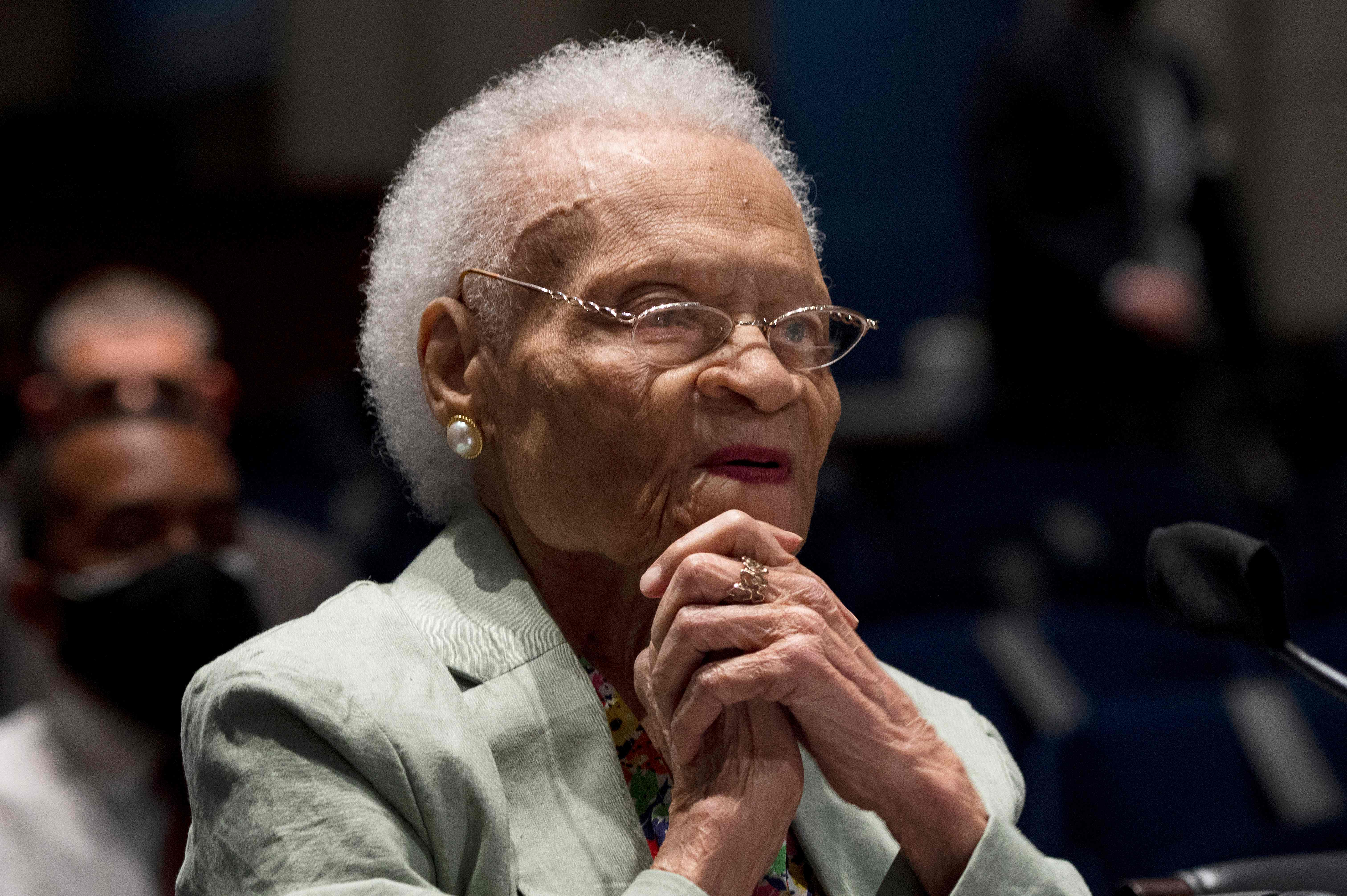"""Viola Fletcher, the oldest living survivor of the Tulsa Race Massacre, testifies before the Constitution, Civil Rights and Civil Liberties Subcommittee hearing on """"Continuing Injustice: The Centennial of the Tulsa-Greenwood Race Massacre"""" on Capitol Hill in Washington, DC on May 19, 2021."""