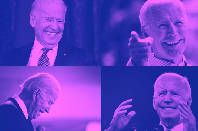 A collection of photographs of Joe Biden laughing.