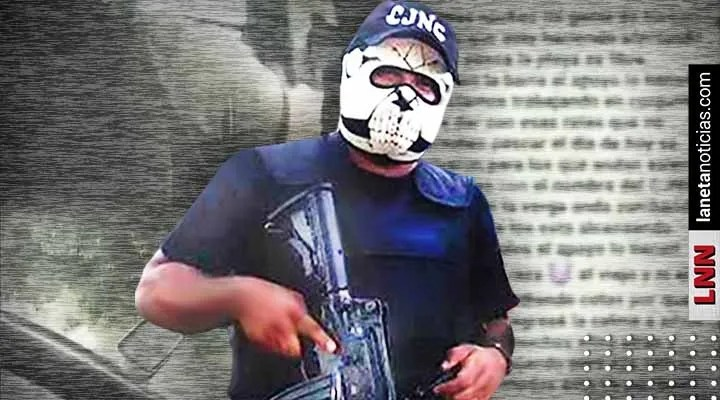 CJNG member showing off his weapon and mask