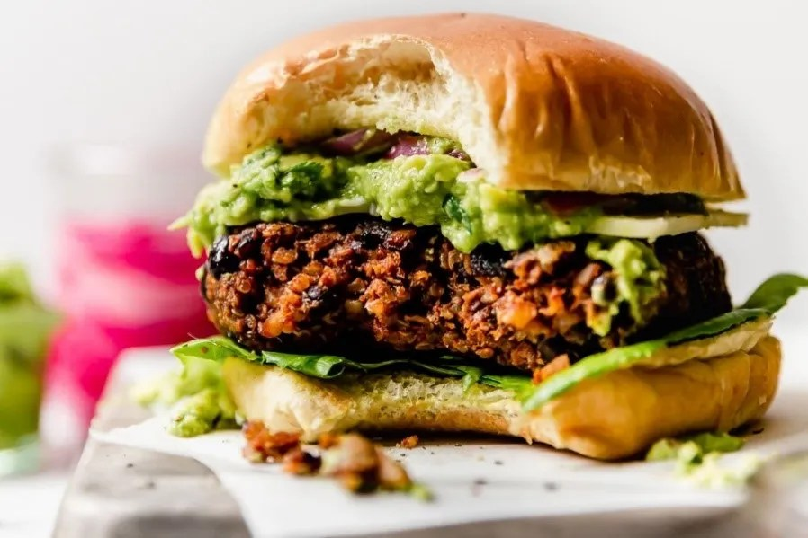 This black bean burger might be meatless, but it's full of flavor.