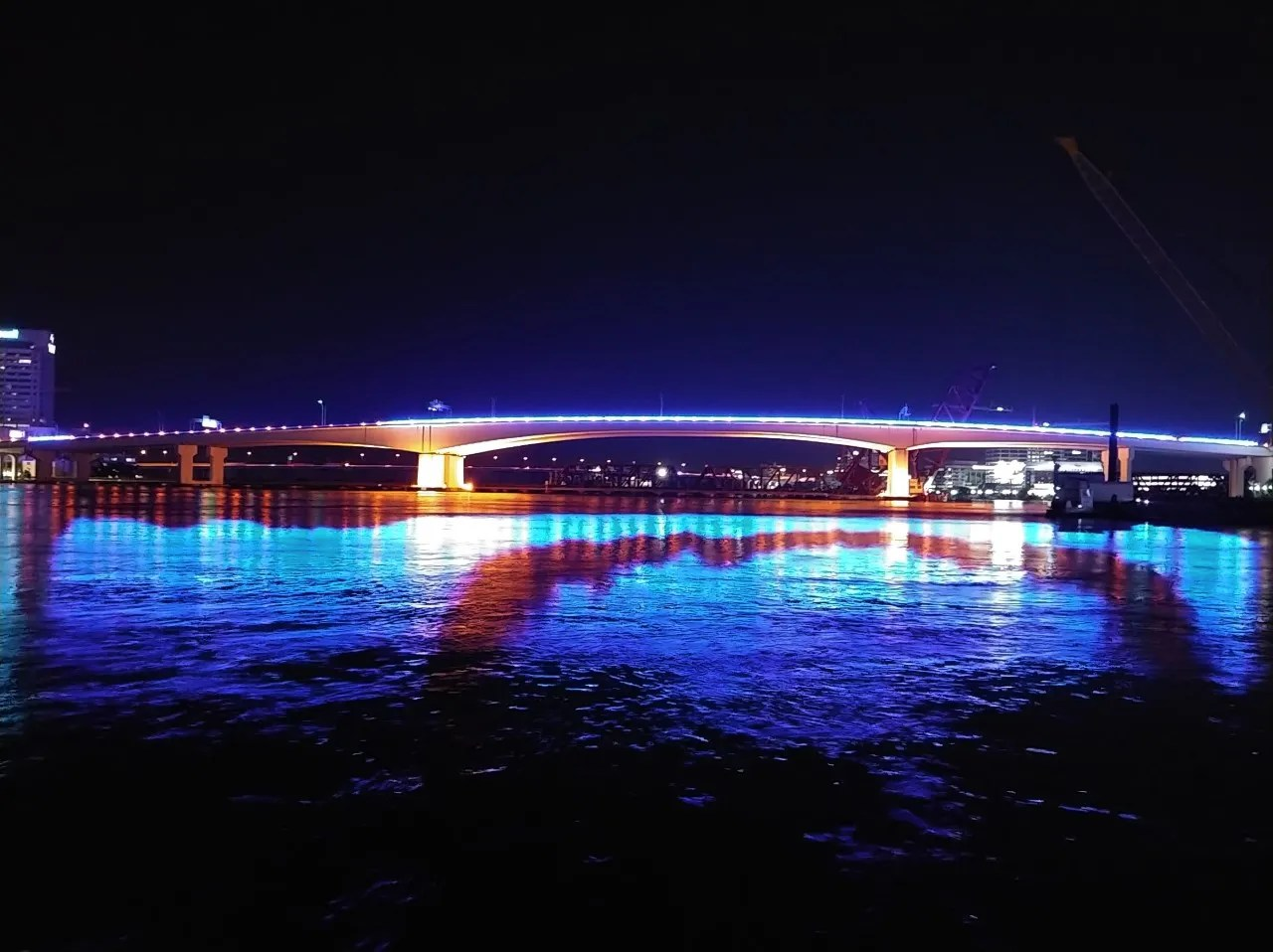 Acosta Bridge, with blue lights, in downtown Jacksonville, Florida on Tuesday, June 8, 2021.