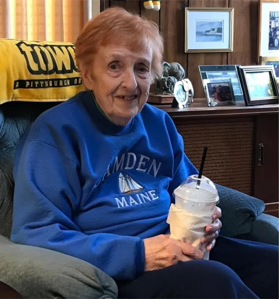 Jean Morrisey in his favorite chair enjoying a Caramel-Lou coffee from MaryLou's in 2018.