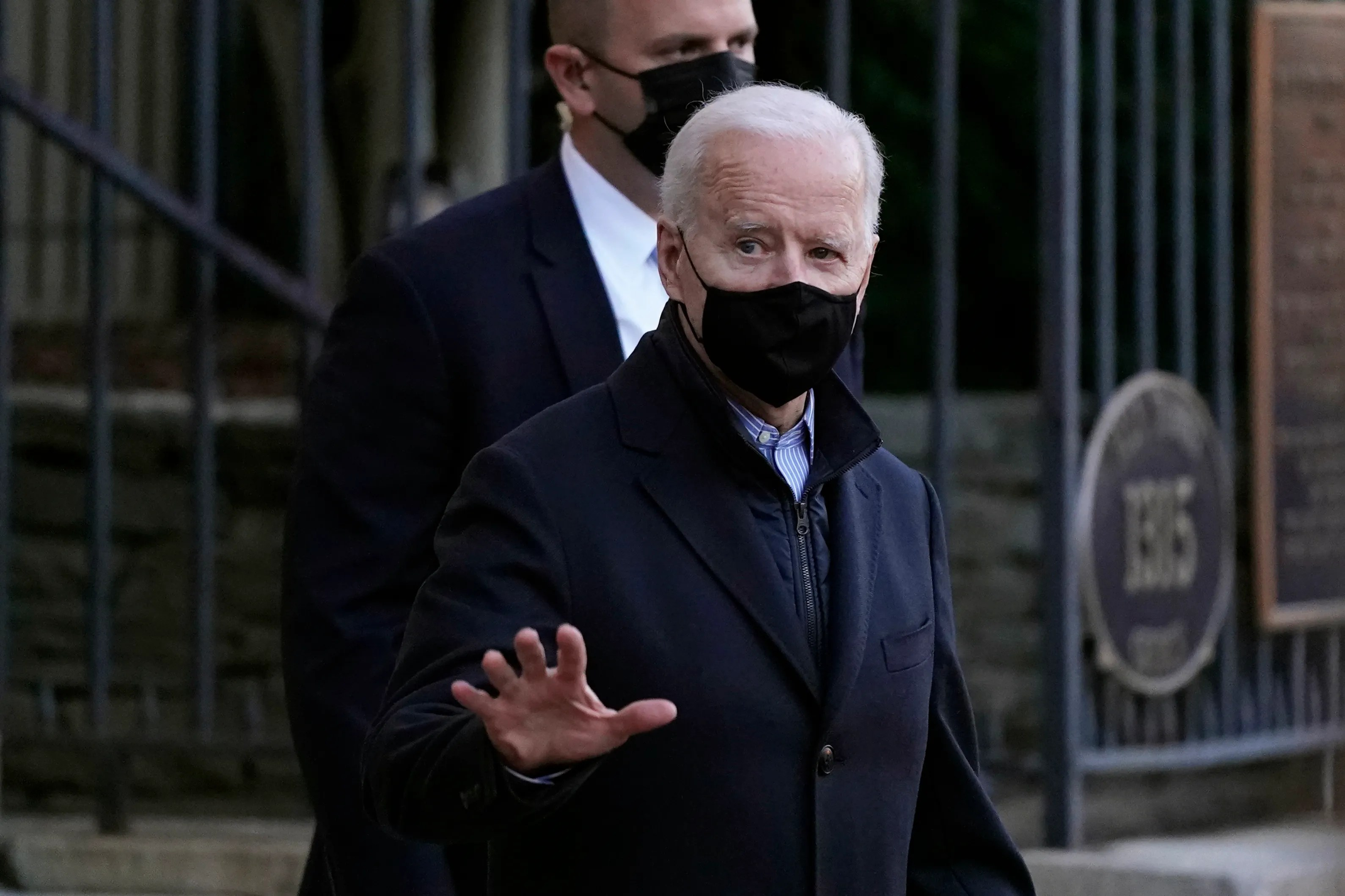President Joe Biden departs after attending Mass at Holy Trinity Catholic Church in the Georgetown neighborhood of Washington on March 6, 2021.