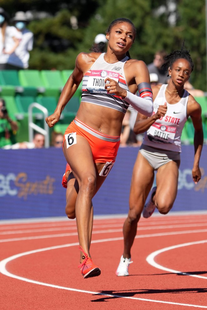 Gabby Thomas ran the best time in the world this year to win the 200-meter final at the U.S. Olympic Trials.