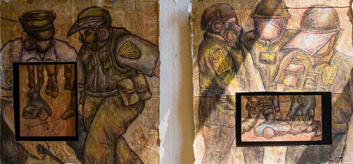"""Shelby Ping's """"Anonymity"""" and """"Excessive"""" address police brutality and immunity in """"Art and Social Justice Exhibition"""" that continues through Aug. 13 at the Colfax Art Gallery in the Colfax Cultural Center in South Bend."""