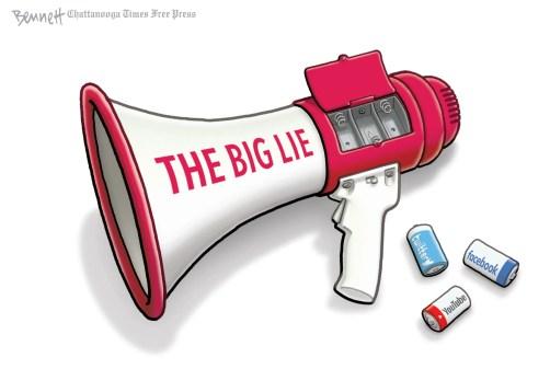 Editorial cartoon, July 11: The big lie