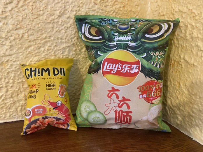 For Chinese influence, try some Pad Thai flavored Chim Dii and some (yes Lay's)  Cucumber Flavored Potato Chips: