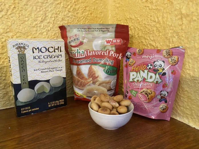 Japanese fans can rev up with Green Tea Mochi ice cream, Gyoza (like pot stickers) and Hello Panda, the shortbread bites already familiar to Americans.