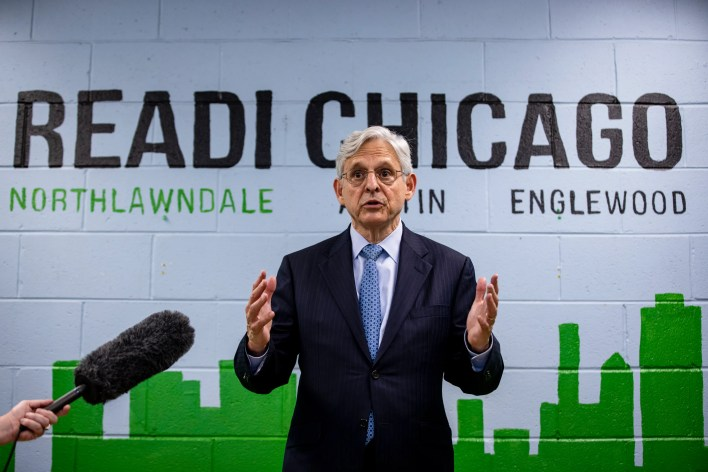Attorney General Merrick Garland takes questions from reporters before attending a listening session on reducing gun violence at St. Agatha Catholic Church on July 22, 2021 in Chicago, Illinois.