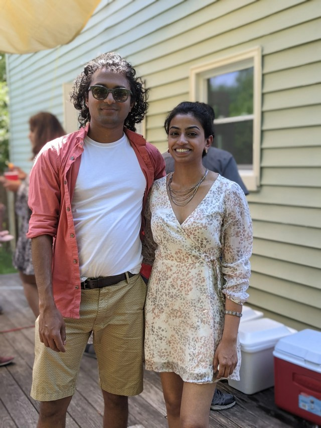Vetrivel Chandrasekaran of Farmington Hills and Rachna Nanda Kumar of Tulsa, Oklahoma, seen here in June 2021 in his backyard, married on August 11, 2021. That night, a storm knocked out power during the wedding reception.