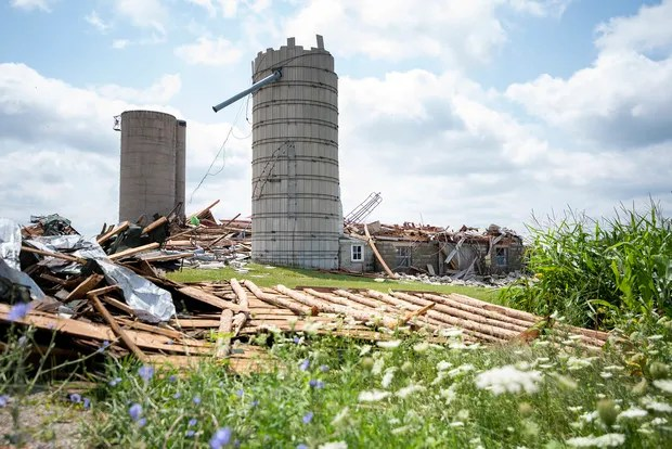 A beam and peg barn built 125 years ago is in pieces after being damaged by the derecho that occurred on July 29, 2021, in the Town of Concord.