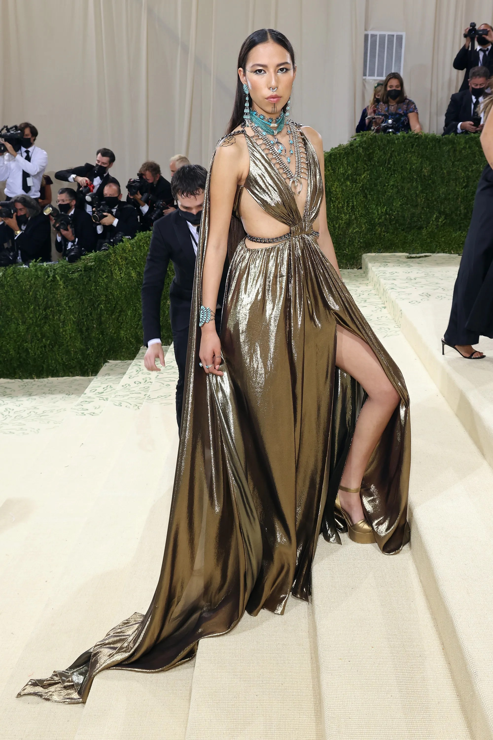"""Quannah Chasinghorse attends 2021 Met Gala """"In America: a fashion lexicon"""" at the Metropolitan Museum of Art on September 13, 2021 in New York City."""