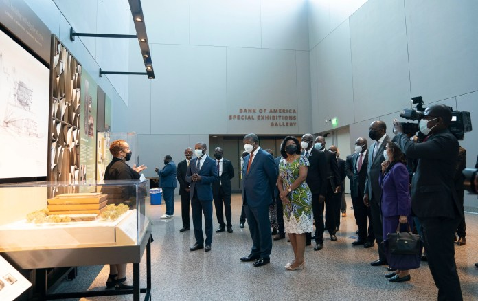 Sep 20, 2021; Washington, DC, United States; President Joao Lourenço of Angola and his wife, Ana Afonso Dias Lourenço, tour the Smithsonian National Museum of African American History and Culture alongside museum curator Mary Elliott on Monday, Sept. 20, 2021 in Washington DC, during the president's first trip to the United States while in office. The museum's exhibits include a focus on the United States' links to Angola as part of the transcontinental slave trade. Mandatory Credit: Jarrad Henderson-USA TODAY ORG XMIT: USAT-461965 (Via OlyDrop)