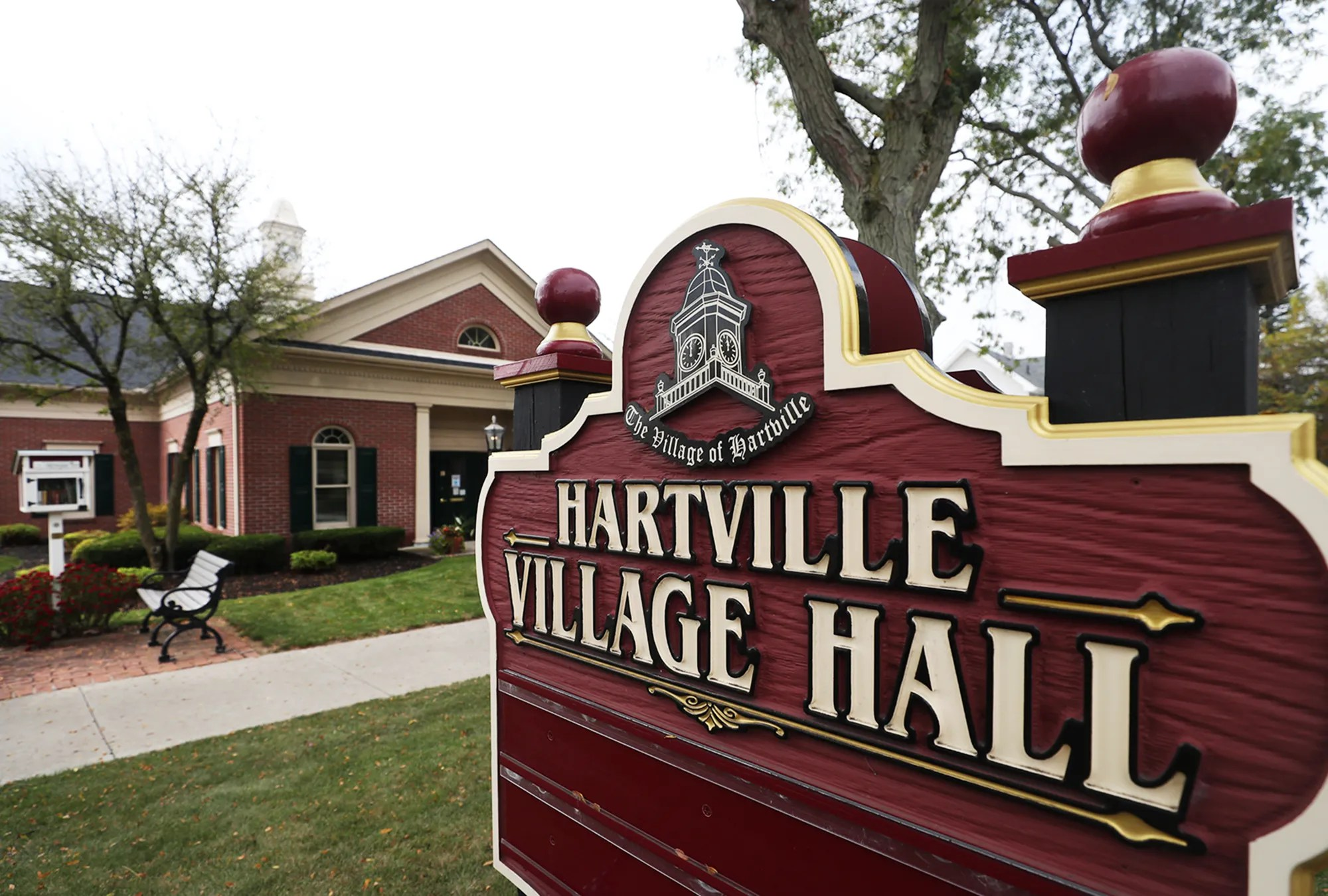 Hartville Village Hall and a Little Free Library.