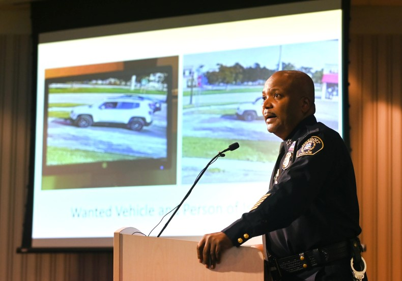 Detroit Police Chief James White speaks during a news conference in Detroit on Wednesday, Oct. 13, 202 about a suspect accused of abducting and sexually assaulting a Farmington Hills girl on Sunday.