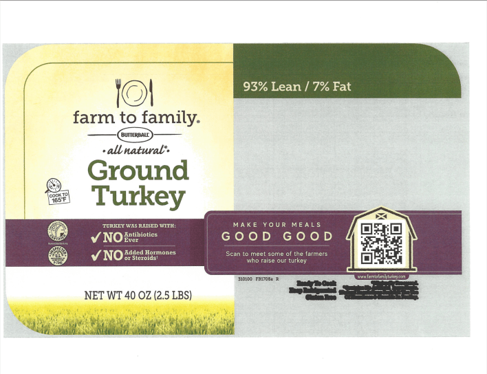 """Turkey processor Butterball is recalling more than 14,100 pounds of ground turkey because the meat may be contaminated with pieces of blue plastic. Included are 2.5-pound trays of """"Farm to Family Butterball All Natural Ground Turkey."""""""