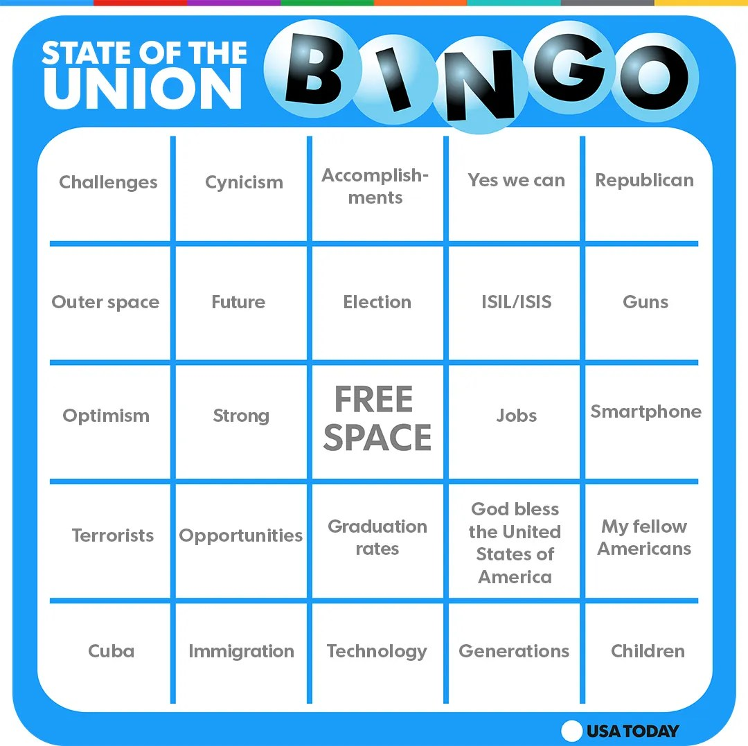 Get Ready For State Of The Union Bingo