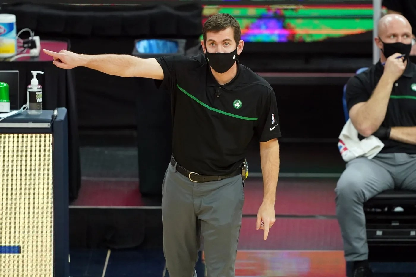 Feb 2, 2021; San Francisco, California, USA; Boston Celtics head coach Brad Stevens gestures from the bench during the second quarter against the Golden State Warriors at Chase Center.