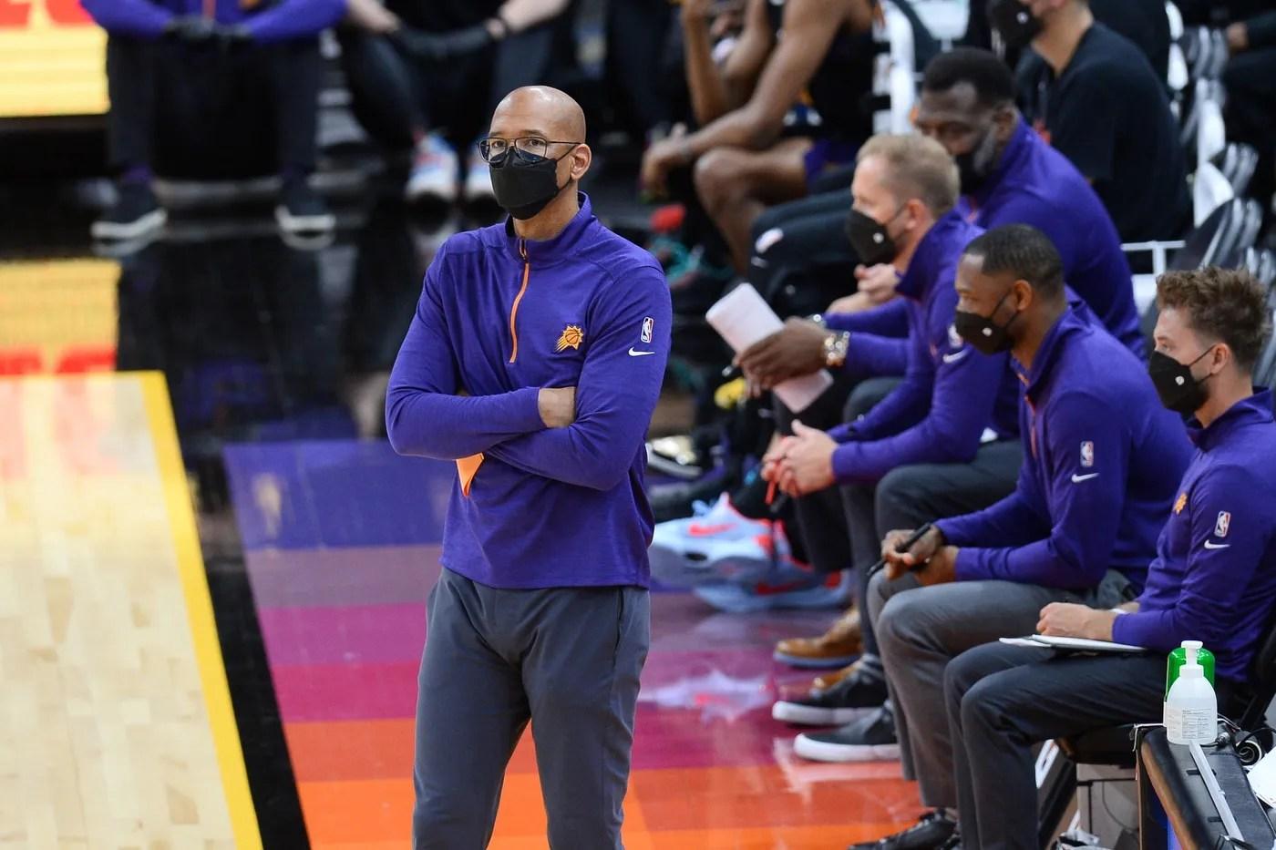 Apr 17, 2021; Phoenix, Arizona, USA; Phoenix Suns head coach Monty Williams looks on against the San Antonio Spurs during the first half at Phoenix Suns Arena. Mandatory Credit: Joe Camporeale-USA TODAY Sports