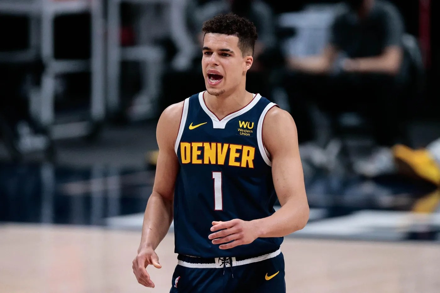 Apr 29, 2021; Denver, Colorado, USA; Denver Nuggets forward Michael Porter Jr. (1) yells from the court in the second quarter against the Toronto Raptors at Ball Arena. Mandatory Credit: Isaiah J. Downing-USA TODAY Sports